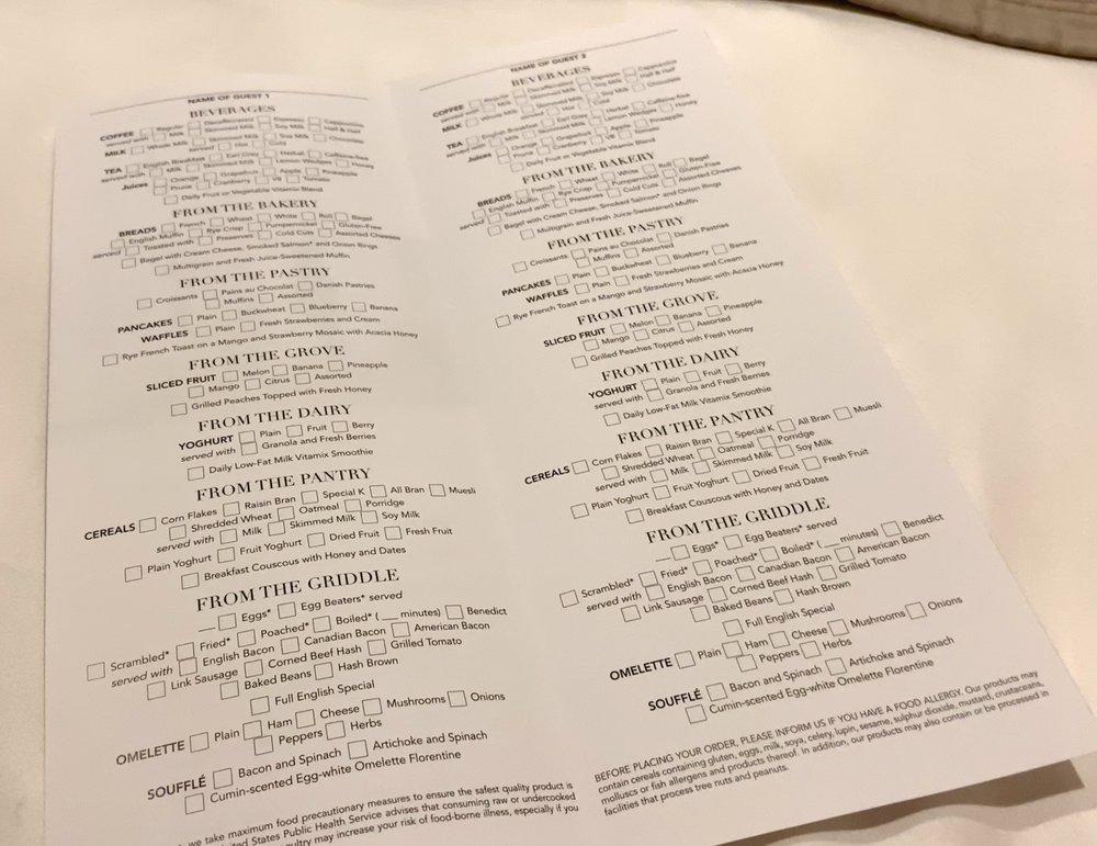 Breakfast order card.