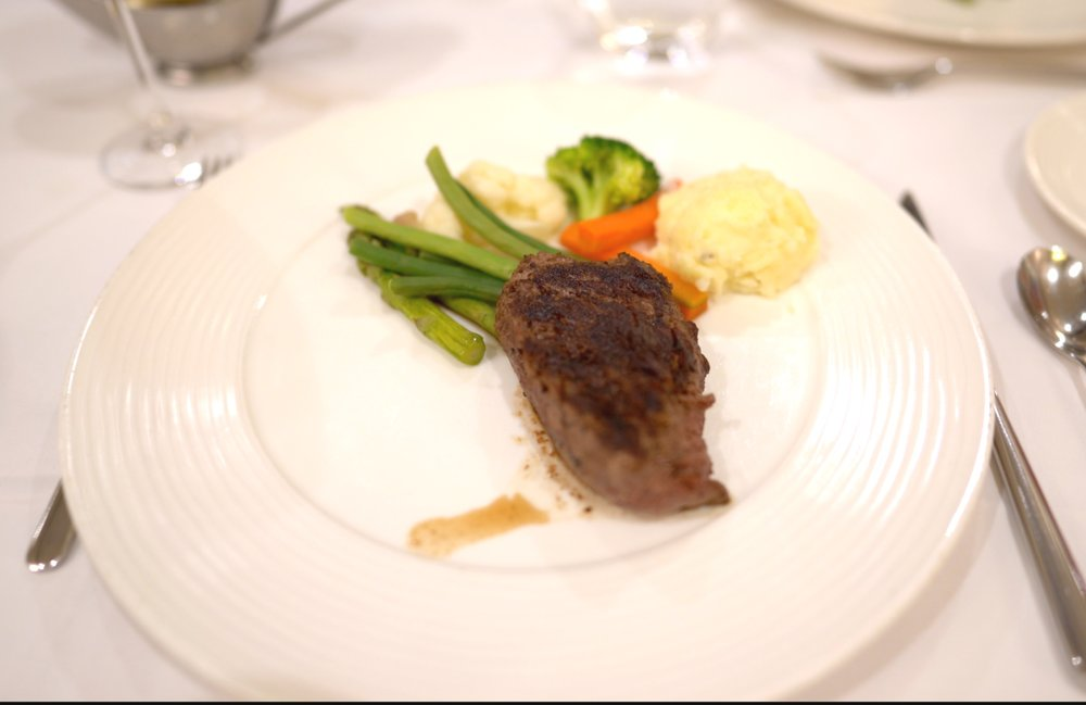 Grilled Filet Mignon and vegetables.