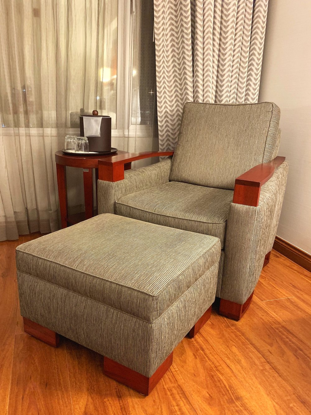 We loved this (very comfortable) seat and footstool.