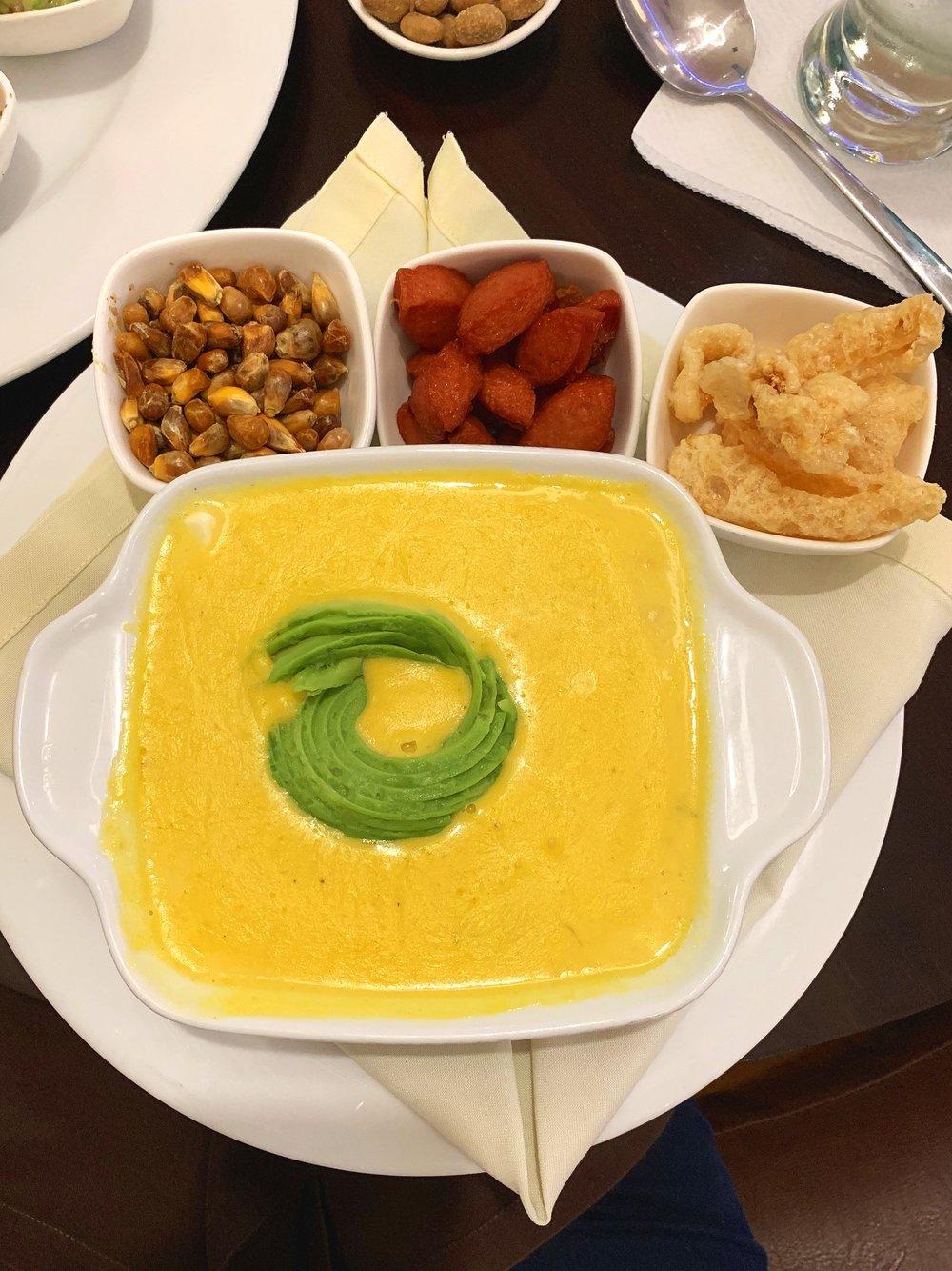 Ecuadorian potato and cheese soup.