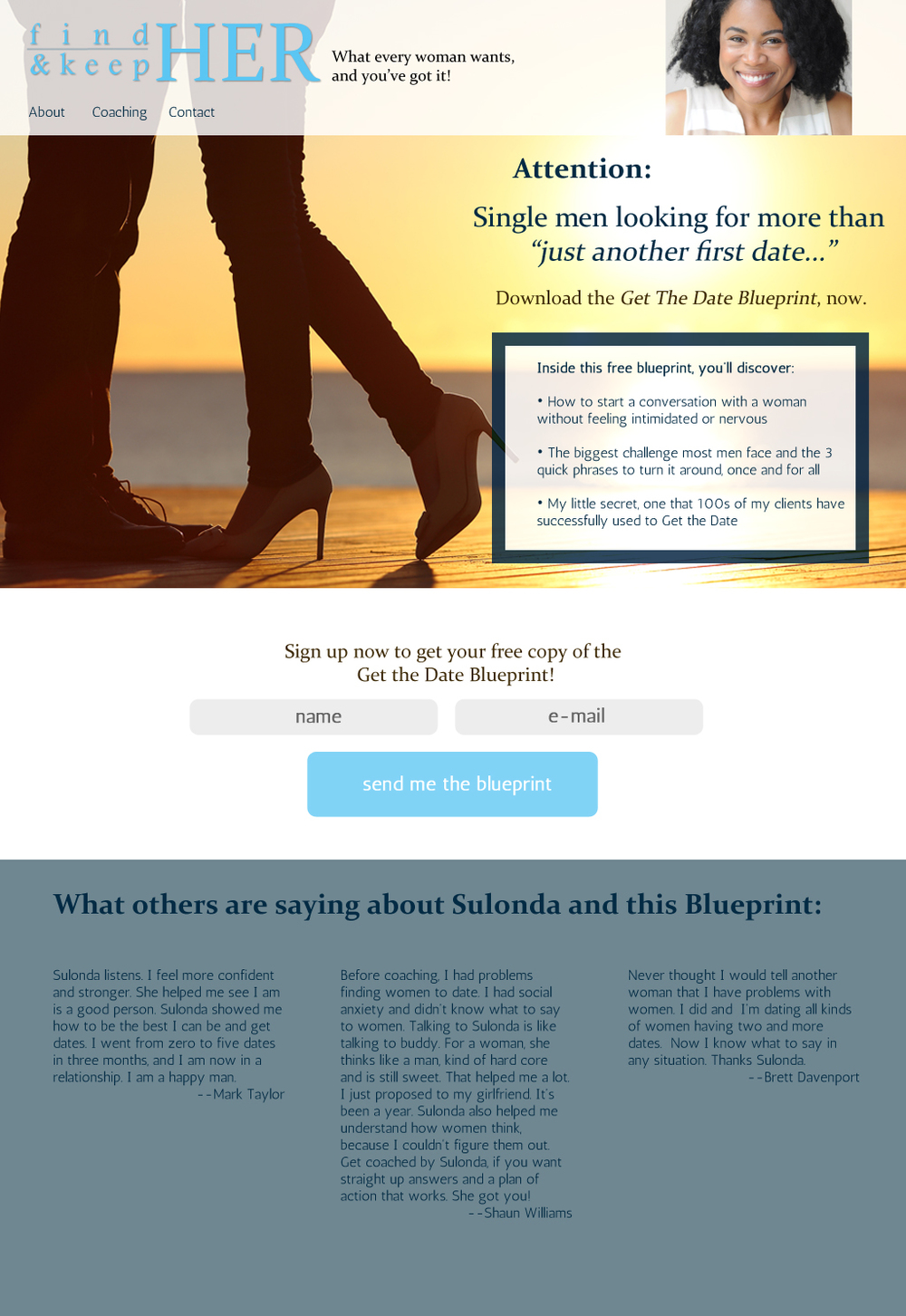 Landing/email opt-in page for a relationship coach.