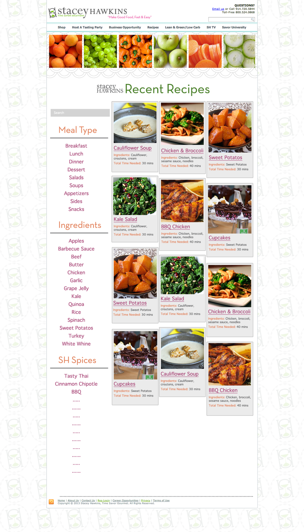 Recent Recipes archive for a food/spice company that posts recipes.