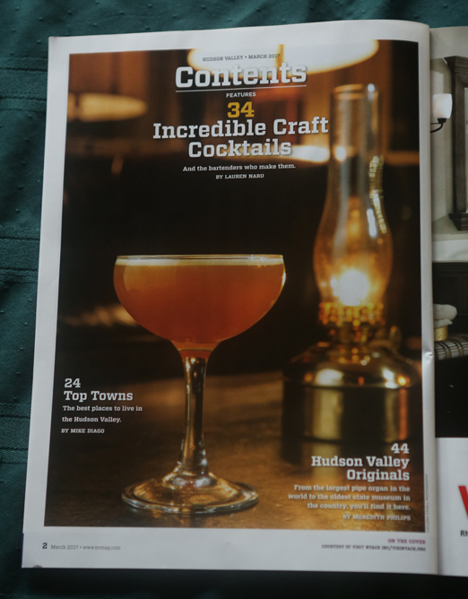 Hudson Valley Magazine Cocktail Feature - Image on Table of Contents