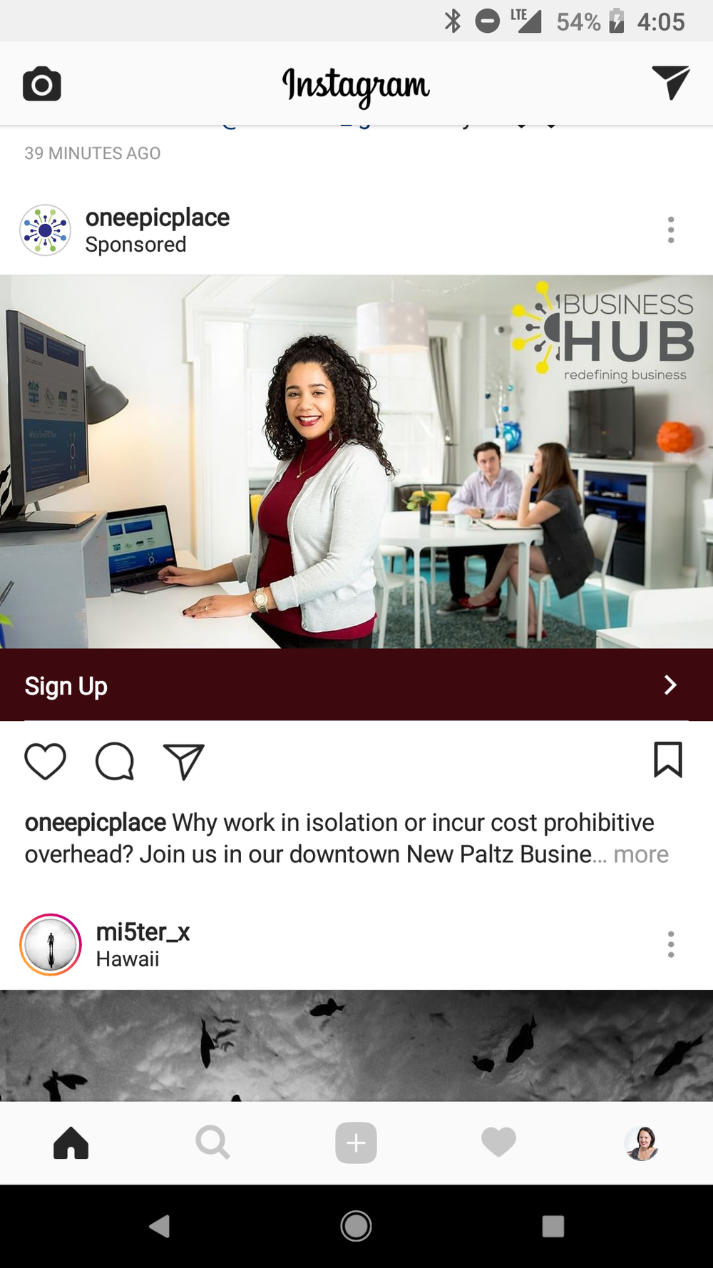 One Epic Place, lifestyle/advertising shoot for a co-working office, using a photo from our shoot for an ad campaign on Instagram (and Facebook).