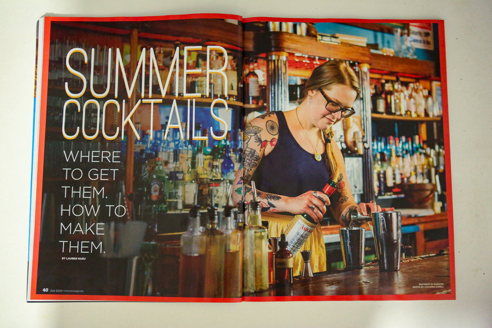 Summer Cocktails Feature, section cover photo, Backbar in Hudson, NY, for Hudson Valley Magazine