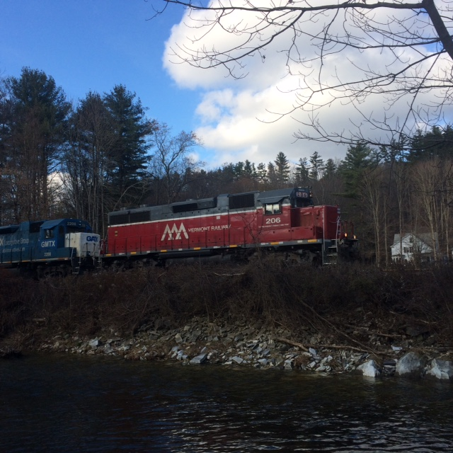 "The train runs along side of the trail at Greven Field. The Cavendish VT Facebook is currently featuring ""Scenes from a Trail."" Good place to walk during hunting season."