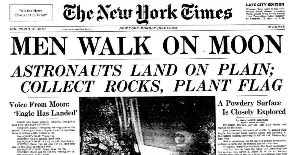 "Today is the anniversary of the ""moon walk"" that took place on July 20, 1969"