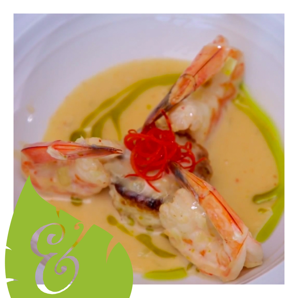 grilled prawns in coconut curry sauce