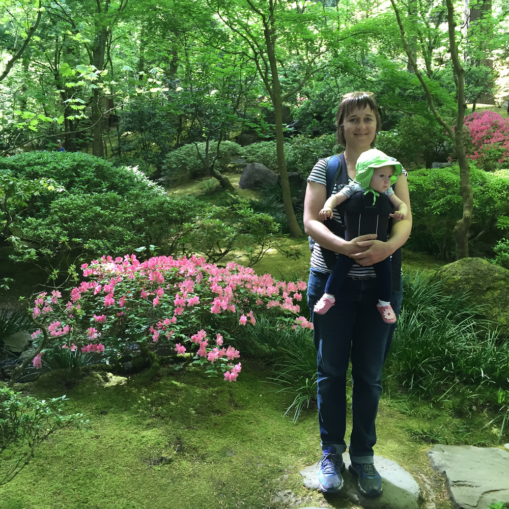 Val with her daughter in the Japanese Garden
