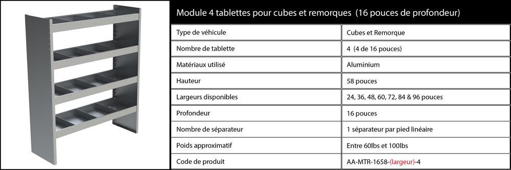 Module 4 tablettes pour cubes ou remorques