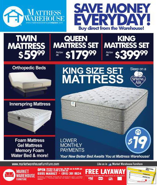 mattress warehouse selections and specials