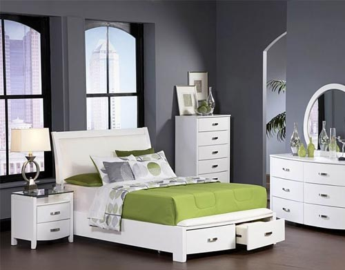 white and green bedroom furniture combo
