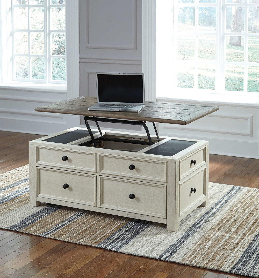 WAREHOUSE PRICE: $449.99 | MONTHLY PAYMENT $9 O.A.C LIFT TOP COCKTAIL TABLE
