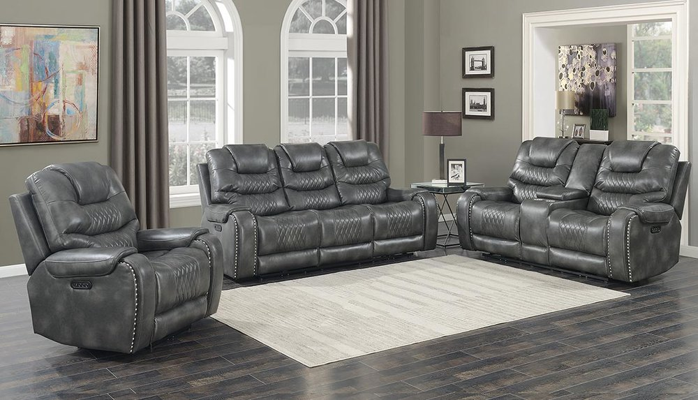 WAREHOUSE PRICE: $2699.99 | MONTHLY PAYMENT $57 O.A.C GRAY POWER RECLINING SOFA AND LOVESEAT