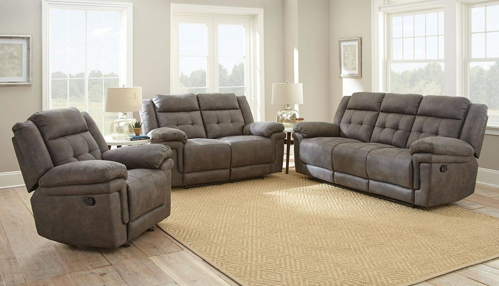 WAREHOUSE PRICE: $1349.99 | MONTHLY PAYMENT $29 O.A.C GRAY RECLINING SOFA AND LOVESEAT