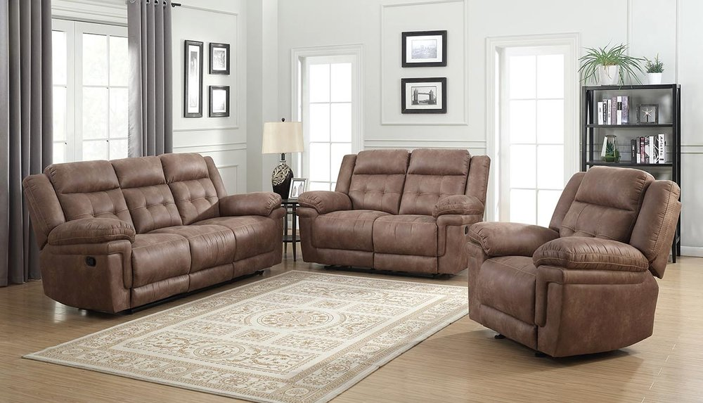 WAREHOUSE PRICE: $1349.99 | MONTHLY PAYMENT $29 O.A.C BROWN RECLINING SOFA AND LOVESEAT