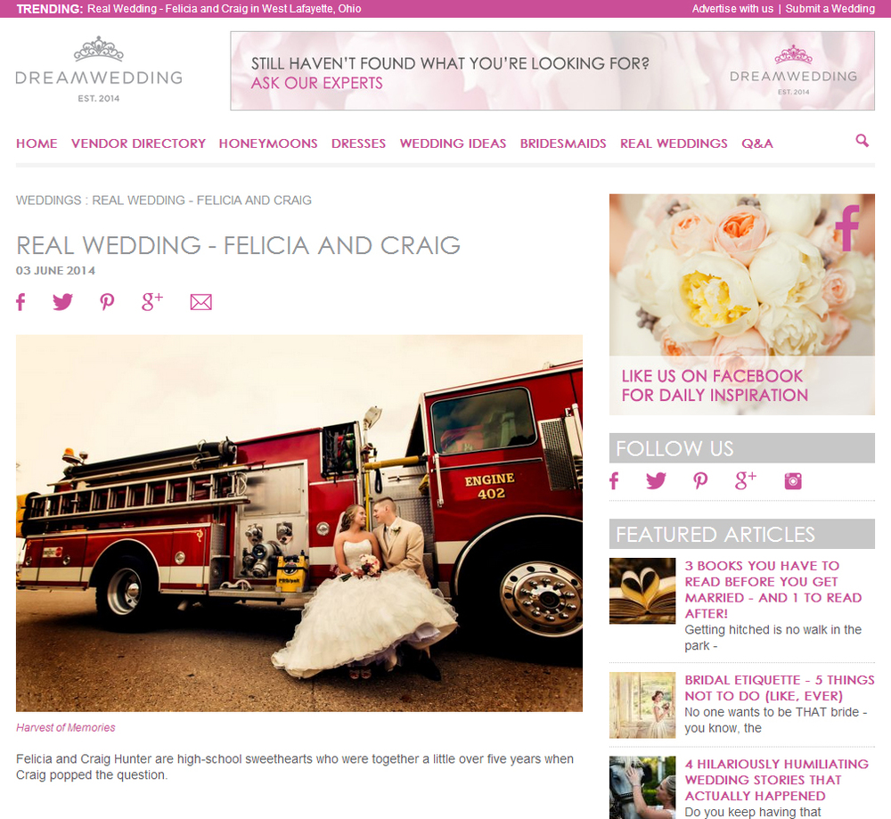 Screenshot of the Dreamwedding.com website.