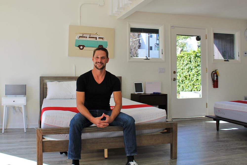 CEO and co-founder Johannes Sauer founded Suissly in April after working eight years in the mattress industry. (Sam Goldman / Noozhawk photo)