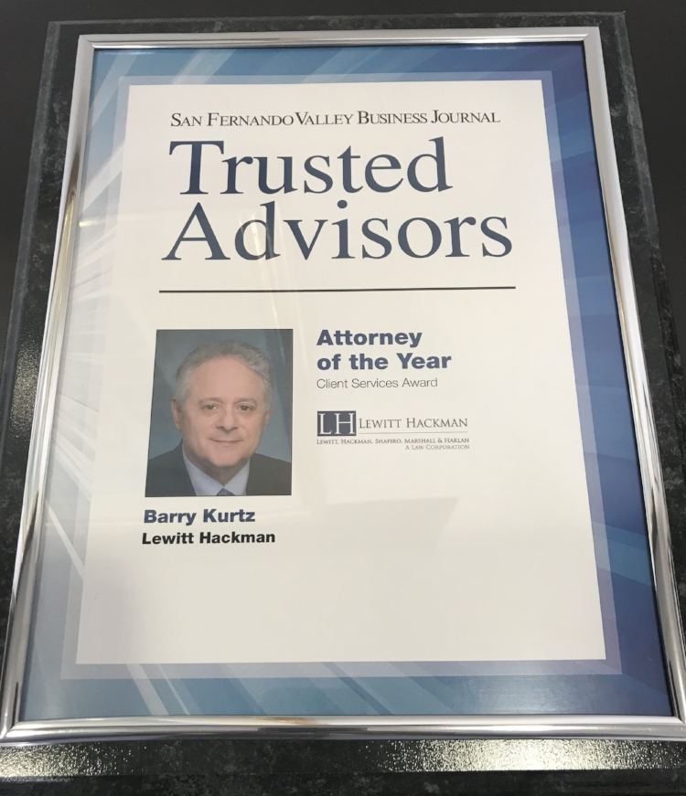 """Wow! Attorney of the Year! We are honored to have nominated franchise attorney Barry Kurtz, to the San Fernando Valley Business Journal Trusted Advisors. Go Barry!"