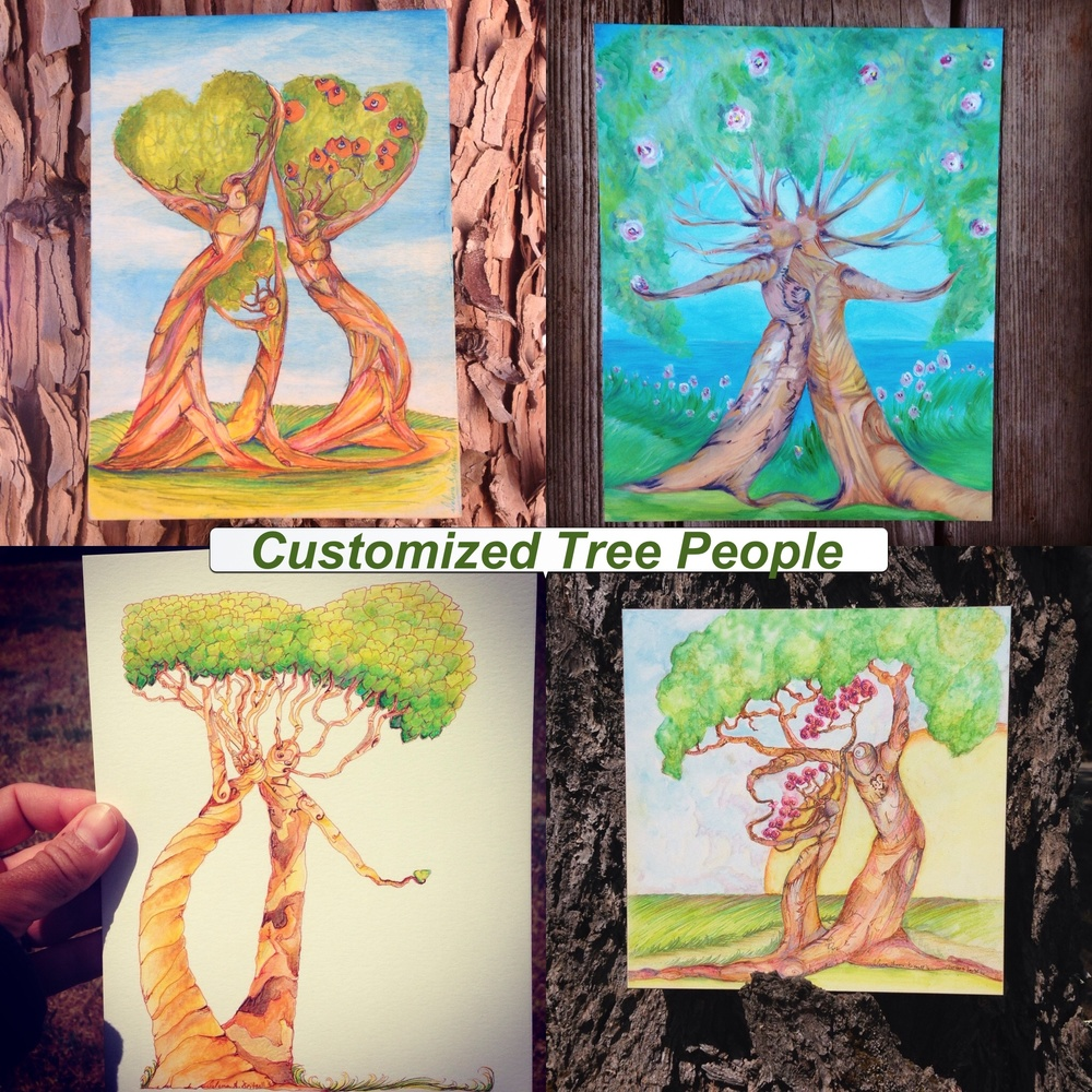 Father's day is quickly approaching!!! Have a custom Tree family made for your husband.   Upper Left 'Family of Three' , Upper Right 'Two Wanderers', Lower Left 'My heart is Yours', Lower Right 'Father and Daughter'