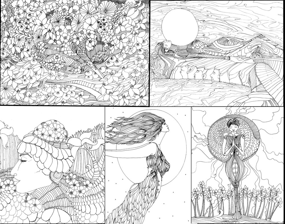 A few examples of the Instant Downloadable Coloring Pages now available.
