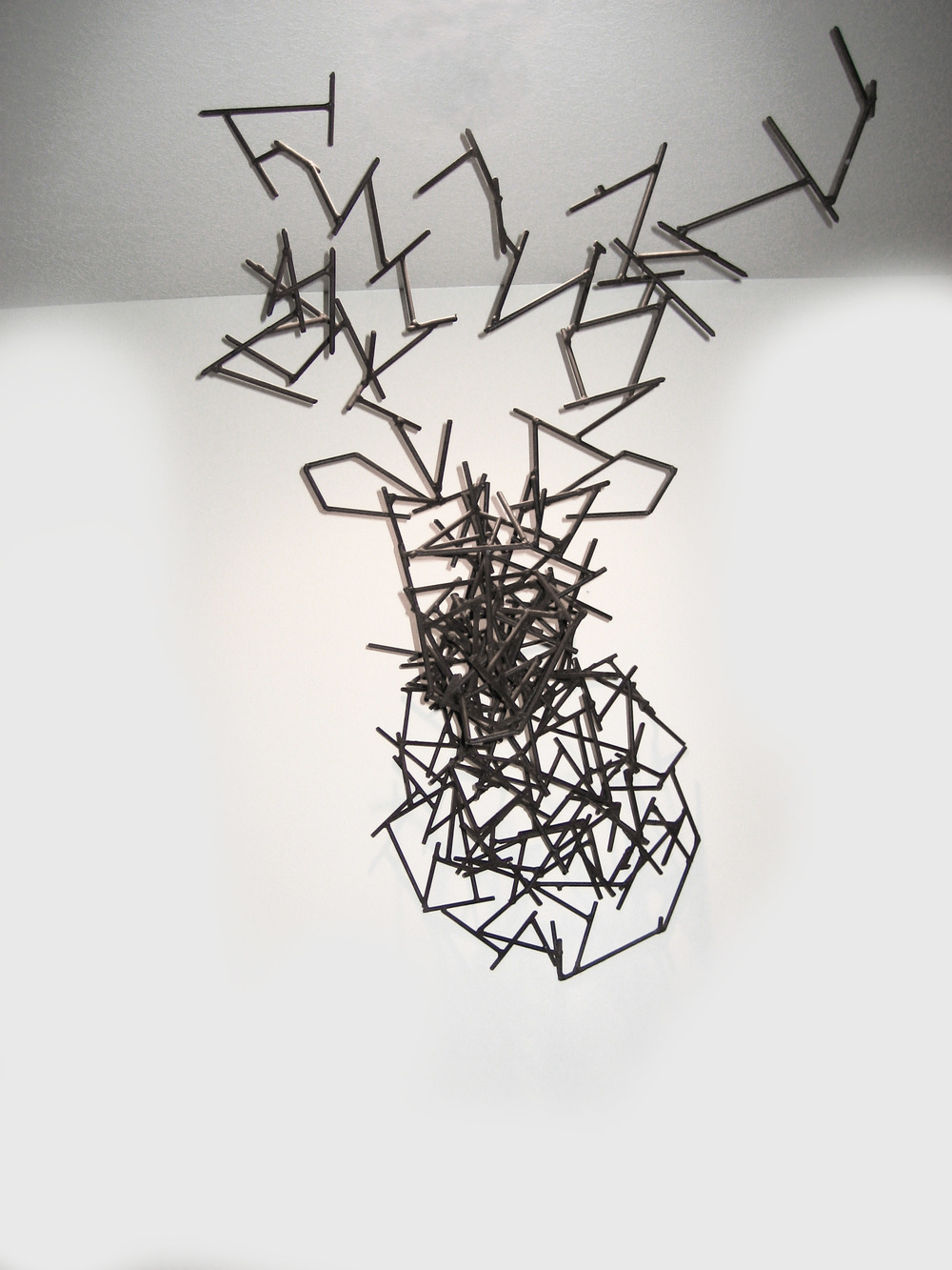 "Untitled (Mount) , welded steel, 2007, 48""x 32""x 30""  Three dimensional rendering by hand with arbitrary elements. This assemblage was done very quickly over the course of a few hours without detailed sketches."