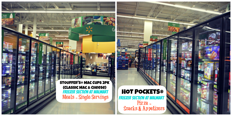 You can find   STOUFFER'S® Mac Cups 2pk and HOT POCKETS® brand sandwiches at your local Walmart under the freezer section.  #FoodMadeSimple