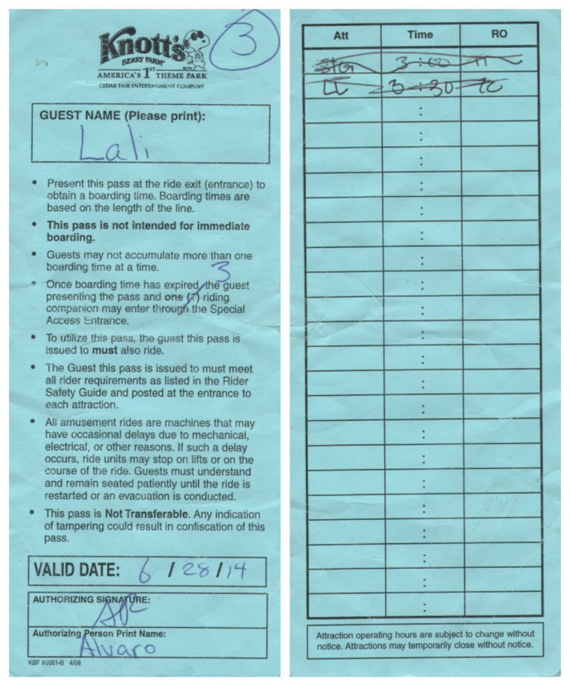 Front and back of Ride Boarding Pass at Knotts Berry Farm and the Instructions on how to use.
