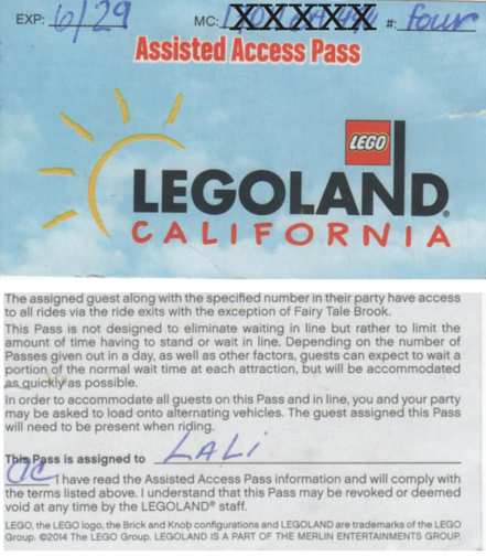 Assisted Access Pass: Front and back with General Info about the System.