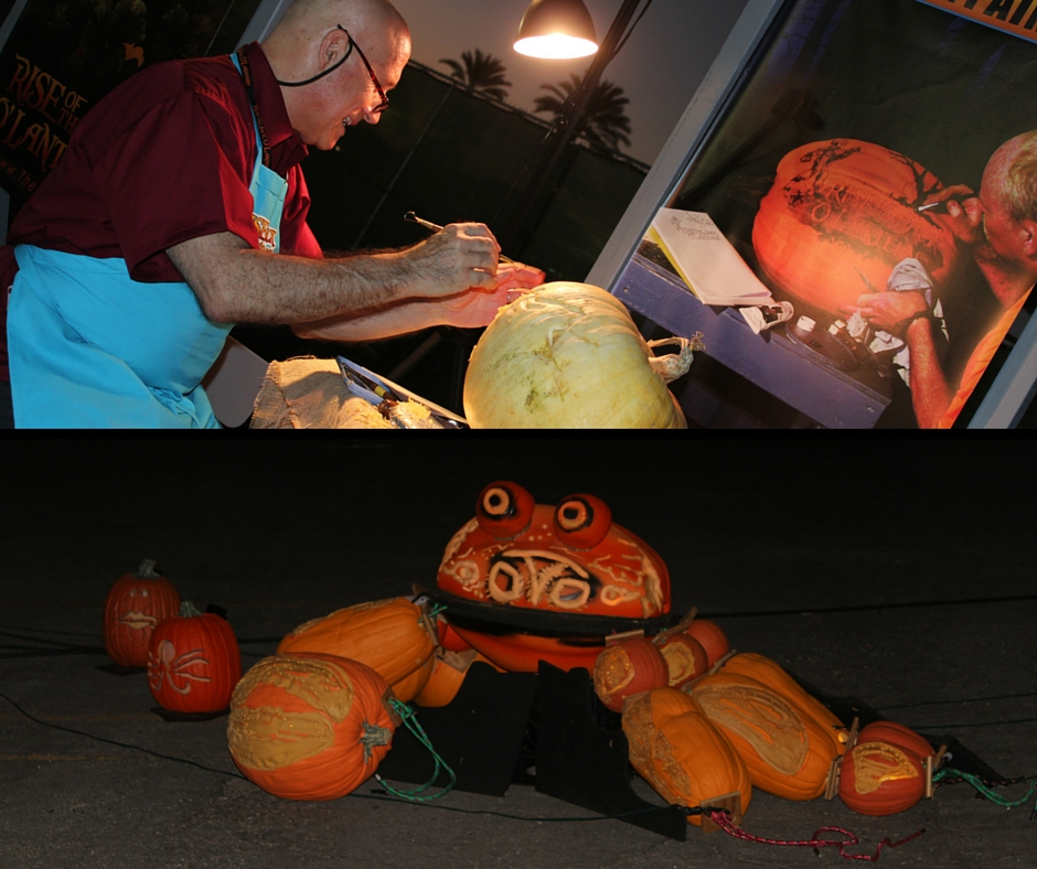 Pumpkin carving Demo and what they look like completed without the lighting.