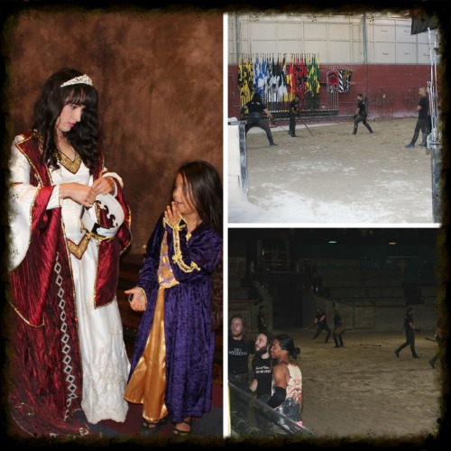 A little assistance from a pro at crowns the princess and the knights of the tournament during training.