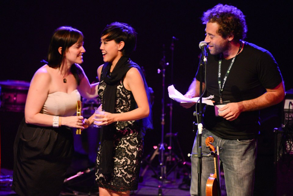 Accepting the Summerworks RBC Arts Professional Award