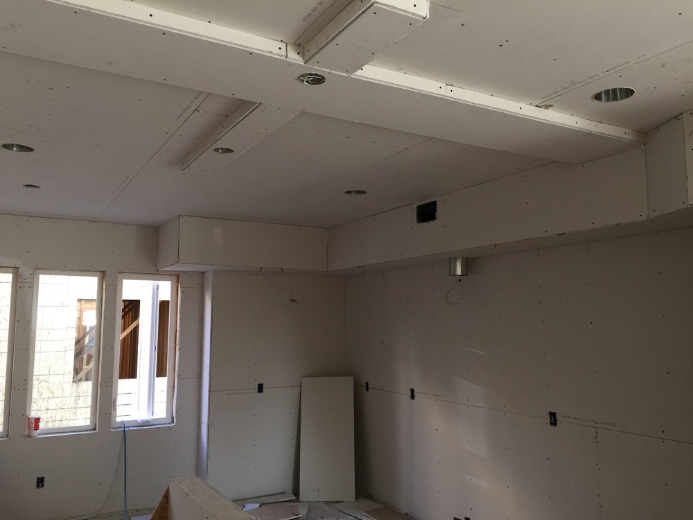 Drywall has begun on building A.