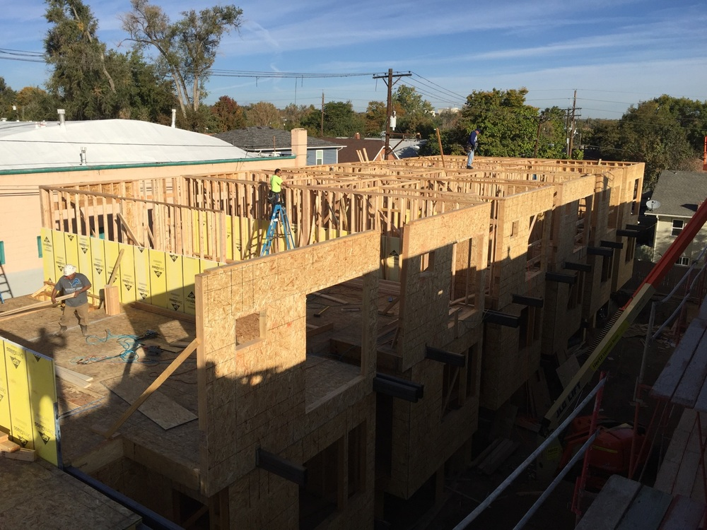 Third floor framing is completing on building B.