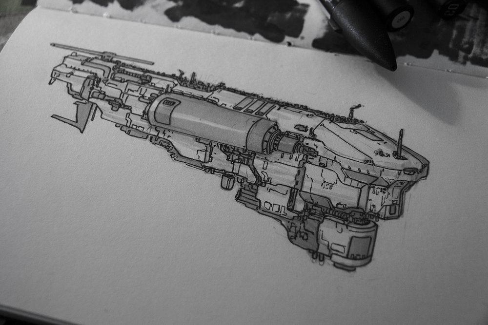 spaceship gas tanker concept sketch.[Inktober]
