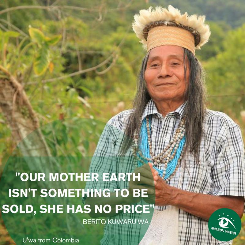 """""""Vår Moder Jord är inget som är till salu, hon har inget pris.""""  - Berito Kuwaru'wa"""