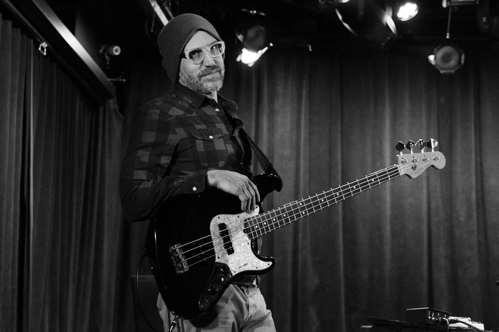 Erik Fratzke, bassist of Happy Apple at (Le) Poisson Rouge on Wednesday night, January 13.