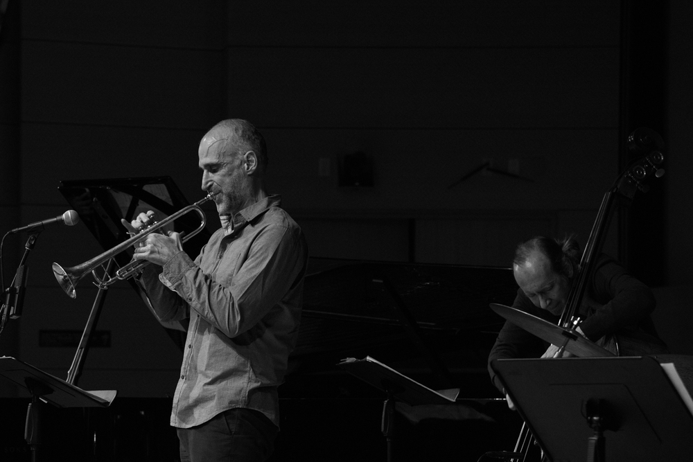 Ralph Alessi (trumpet) and Drew Gress (bass) performing at New School Tishman Auditorium - ECM Records Stage, January 16.