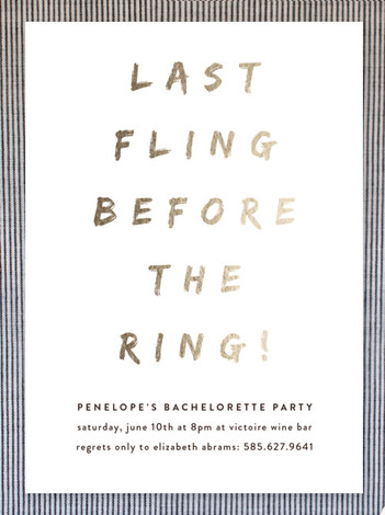 Last Fling Before the Ring designed by Up Up Creative. Available at Minted.com.