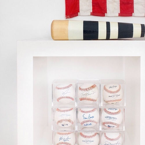 """""""Always always have a baseball and pen with you at all times. You never know who you might run into."""" says MBco owner, Jeremy Mitchell. He has several autographed baseballs from players such as Hall of Famers: Ernie Banks and Tom Lasorda."""