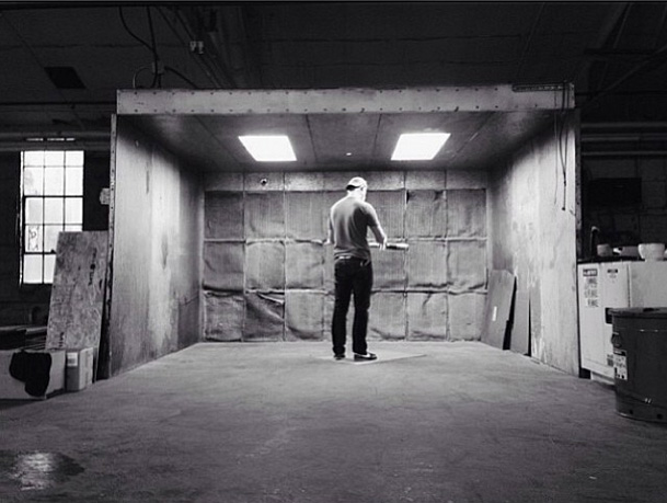 Mitchell in the paint booth in Nashville, TN.
