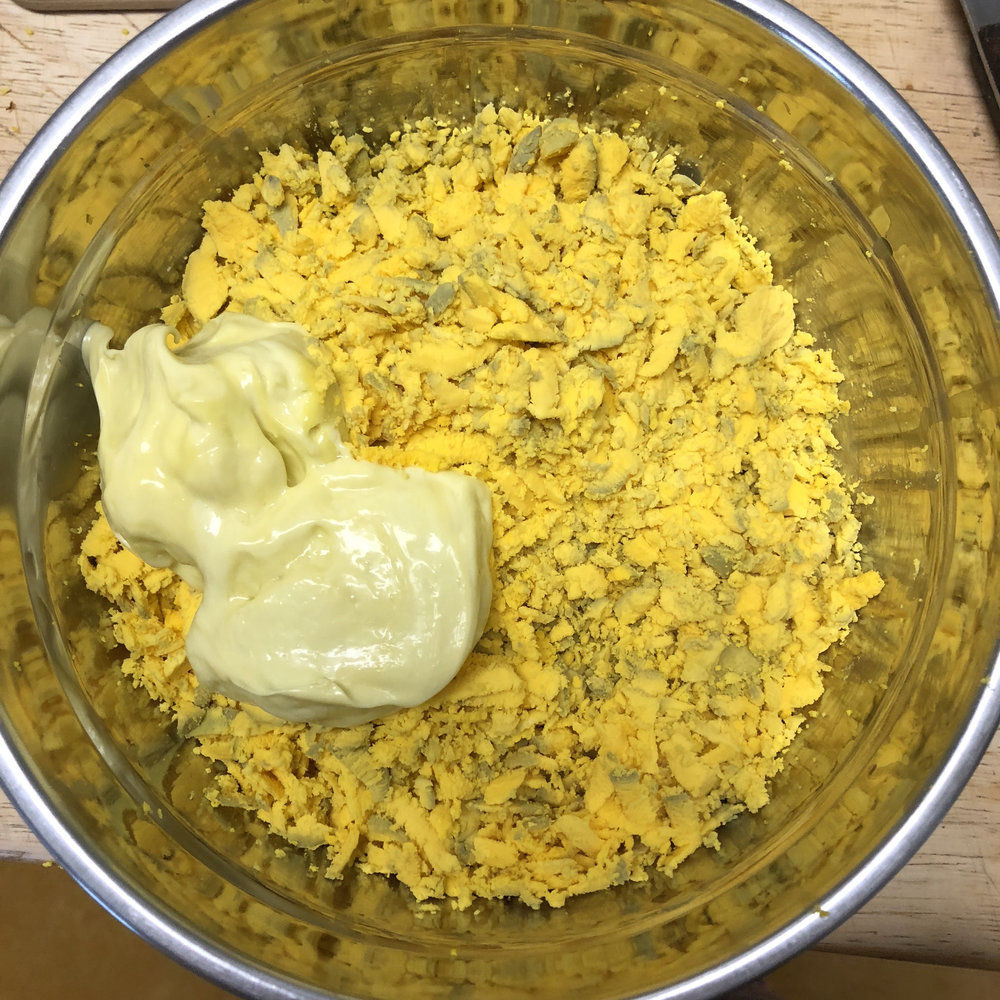 Shredded and homemade mayo added