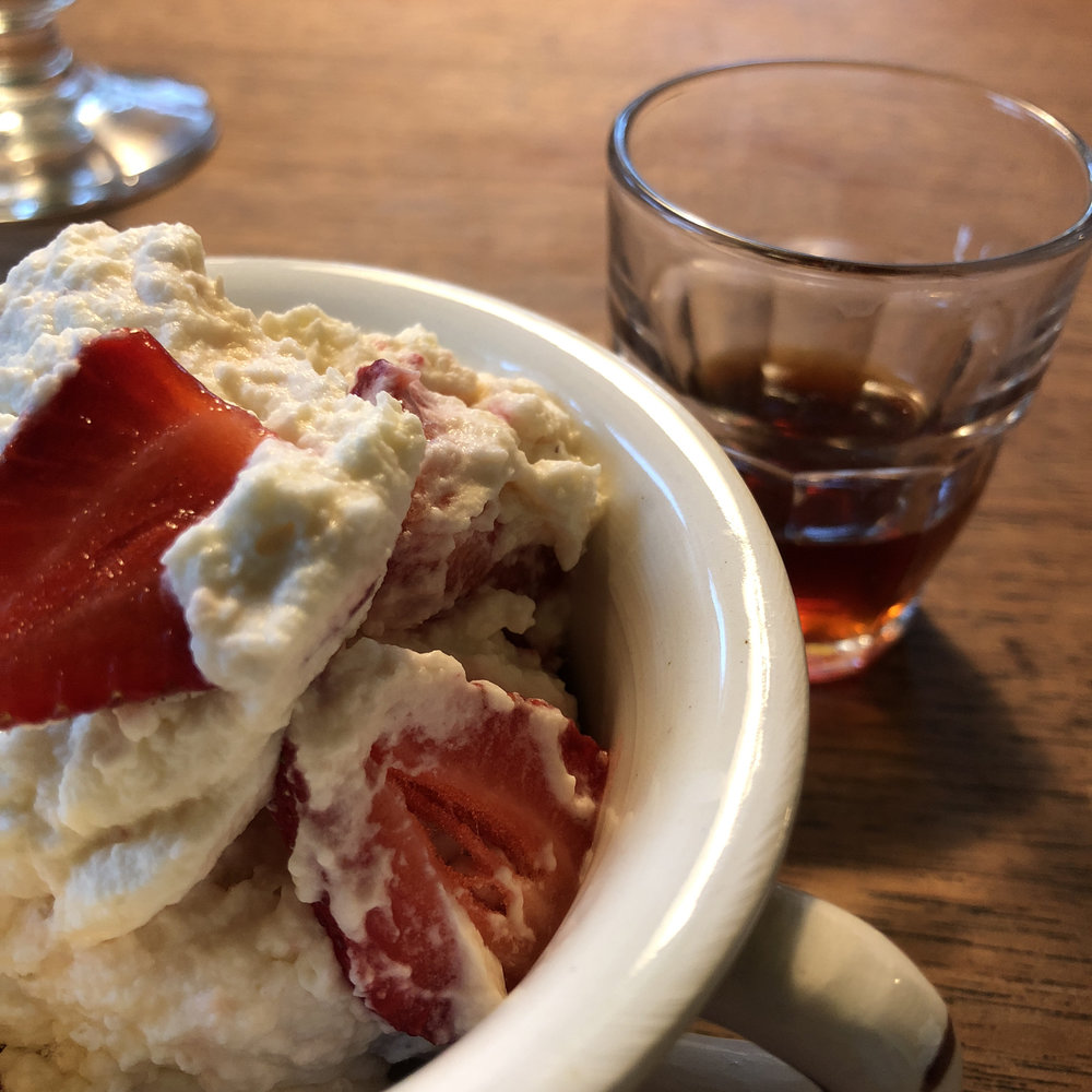 Eton mess with a glass of Lindisfarne Mead