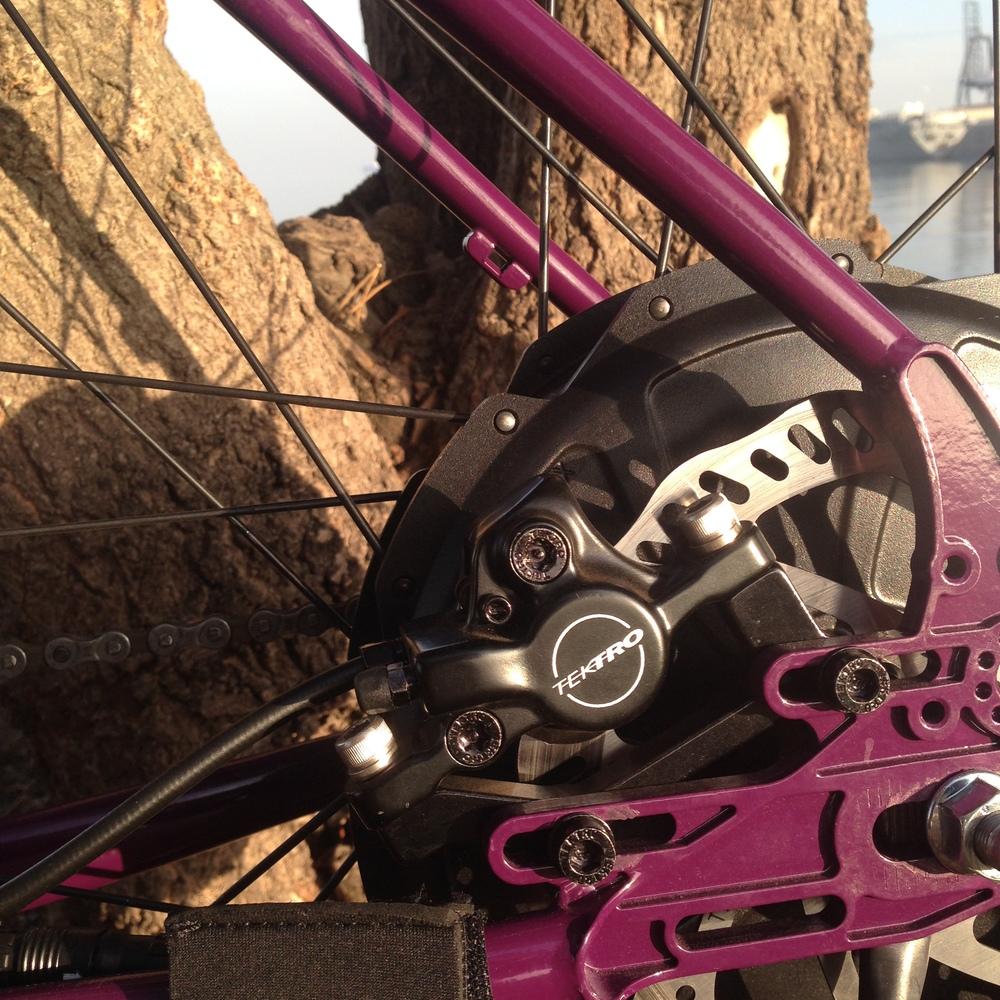Tektro hydraulic disc brakes.
