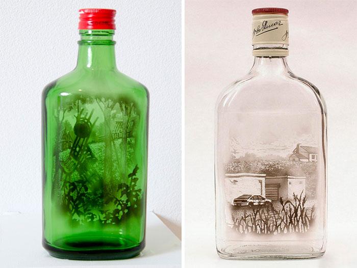 费酒瓶画画图片