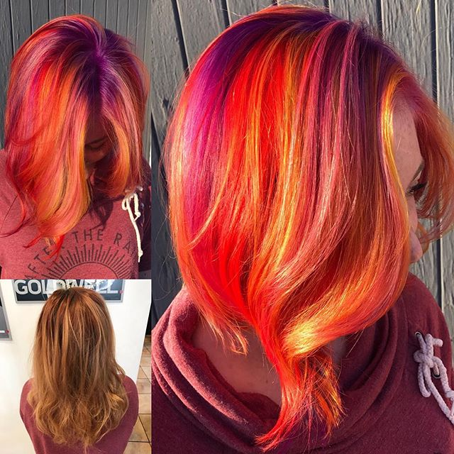 Radiant multicolored hair!  by @julieoulie #beforeandafter #transformation #modernsalon #americansalon #woodlandhills #hairconcept2000 #orange #red #purple