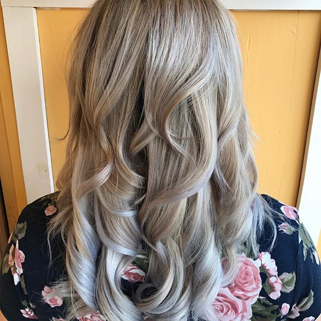 Silver Ombré #ombre #silver #hair #curls #blonde #beauty #americansalon #modernsalon #hairconcept2000 #hairbyjulie