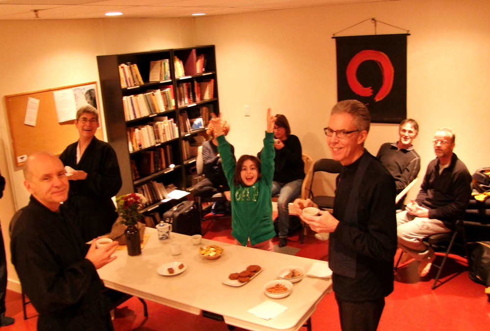 Party in the kitchen at Mountain Rain's former zendo, in Vancouver