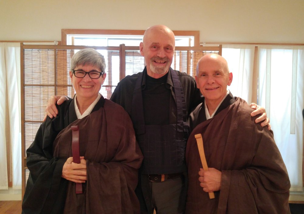Mountain Rain Guiding Teachers Myoshin Kate McCandless and Shinmon Michael Newton, with 2017 Practice Period  Shuso  Jakushin Todd Slobogean.