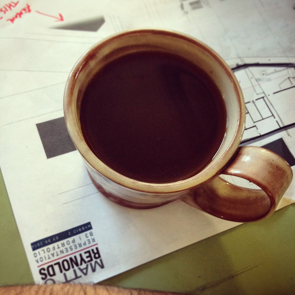 Another coffee ground by hand and brewed at studio in my french press.